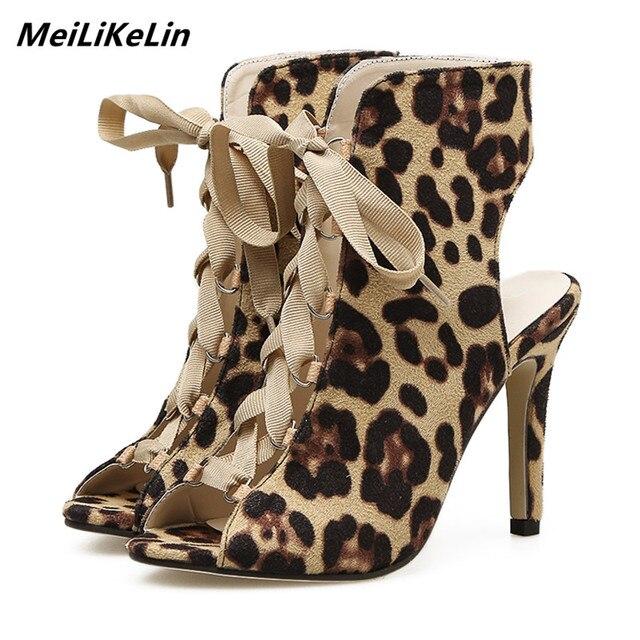 381efd2f1985 MeiLiKeLin Women Denim Boots Leopard High Sandals Ladies Wide   Narrow Foot  Lace-up Pumps
