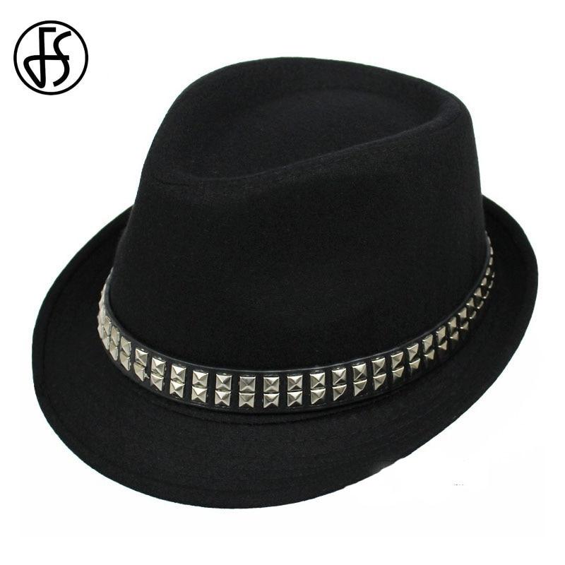 FS Unisex Men Black Gray Brown Wool Felt Hat <font><b>For</b></font> Women Wide Brim Vintage <font><b>Fedoras</b></font> Floppy Trilby Jazz Panama Hats