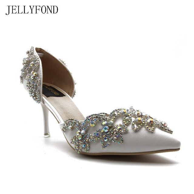 Pointed Toe White Crystal Women High Heels Shoes ABS Rhinestones Diamond Bling Wedding Bridal Party