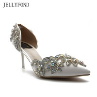 Pointed Toe White Crystal Women High Heels Shoes ABS Rhinestones Diamond Bling Wedding Shoes Bridal Party