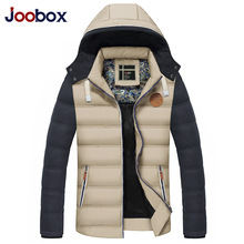 JOOBOX Brand Winter Jacket Men 2016 New Fashion Splicing Sleeve Parka Men Young Hooded Jacket Cotton