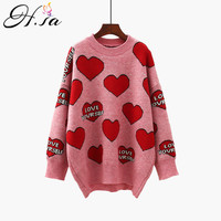 H.SA Women Oversized Sweater and Pullovers Oneck Sweet Heart Letters Printed Pull Jumpers Long SLeeve Pink Streetwear Knit Tops