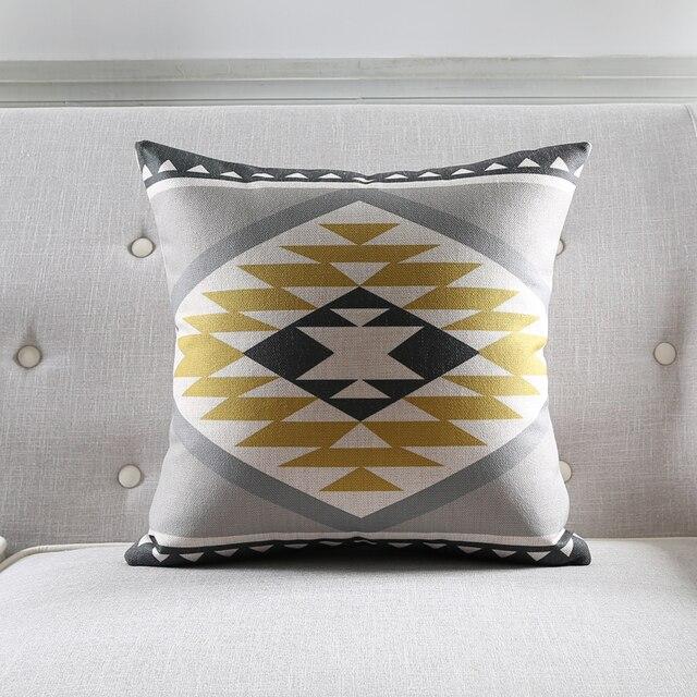 Lniana poduszka pokrywa geometria żółty szary blok Zebra powłoczka na poduszkę domowa dekoracyjna poszewka na poduszkę