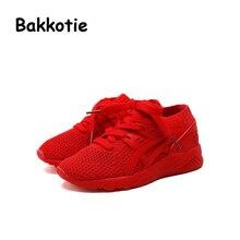 Bakkotie 2017 Nouveau Automne Bébé Garçon Loisirs Sneaker Rouge En Bas Âge fille Marque Casual Sport Chaussures Noir Enfant Respirant Enfant Doux semelle