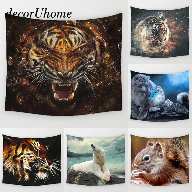 Decoruhome Cartoon Tiger Tapestry Wall Hanging Decor Polar Bear Printed Carpet Home Living Printing