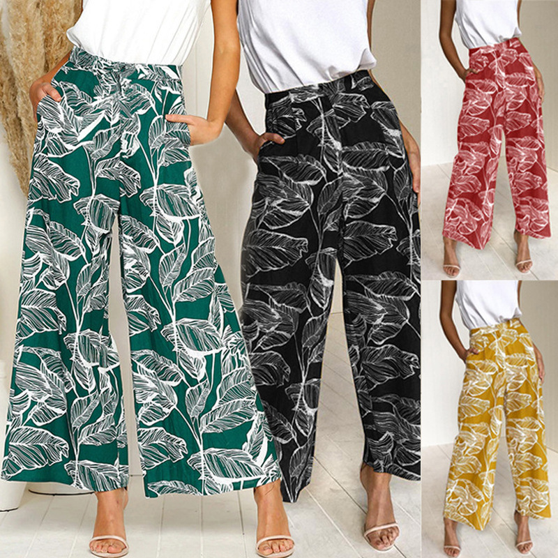 Women's Summer Casual Retro Print Leaves Bohemian   Wide     Leg     Pants   High Waist   Wide     Legs   Trousers Beach Casual Holiday   Pants