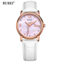 2017 BUREI New Fashion Quartz Watches Women White Leather Strap For Elegant Beautiful Ladies In Party Or Daily Life Womens Watch