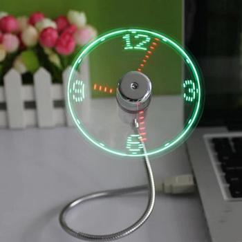 MINI Flexible LED USB Clock Fan Watch Gadgets Office Desk Cooling Temperature Adjustable Display Fan for PC Laptop Desktop Gifts