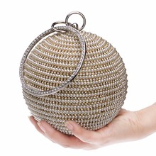 Free Shipping Women's Pearl Evening Bag Round Ball Pearl Beaded Clutch Purse Mini Handbags Full Pearl Wedding Party Bags YM1059