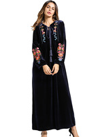 TUHAO long vintage Dresses Embroidery 2018 Spring Vintage floral female Vestido Long Muslim Women's retro Dresses ZZL001