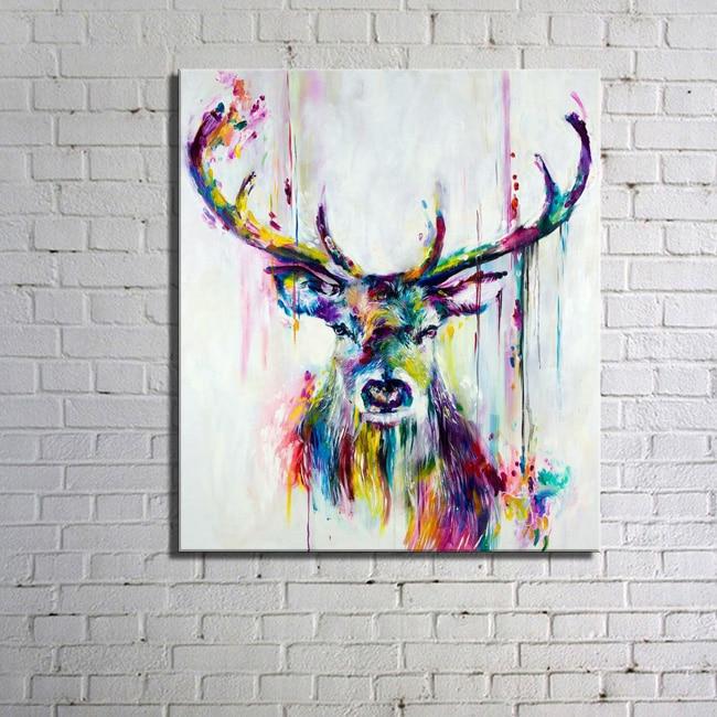Nordic Colorful Forest Deer Horse Lion A4 Canvas Painting Art Oil Print Poster Dětský pokoj Divoká zvířata Zvířecí rám Home Deco HX-027