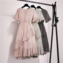 Women Chiffon Dress Vintage V-neck Elastic Waist Flare Sleeve Knee-length Dot Print Dress Female Party Dress 2019 Femme Vestidos