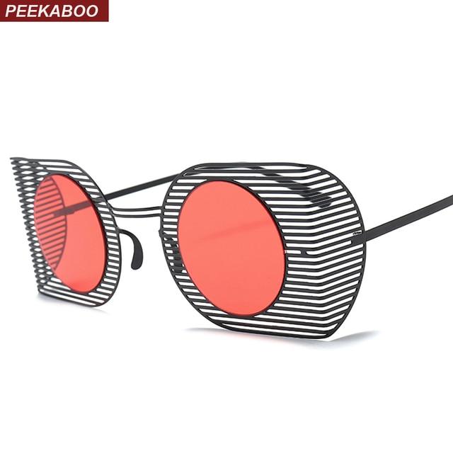 71ef2f424d4 Peekaboo square shield sunglasses round women 2018 red black pink metal  frame vintage women sun glasses for men uv400