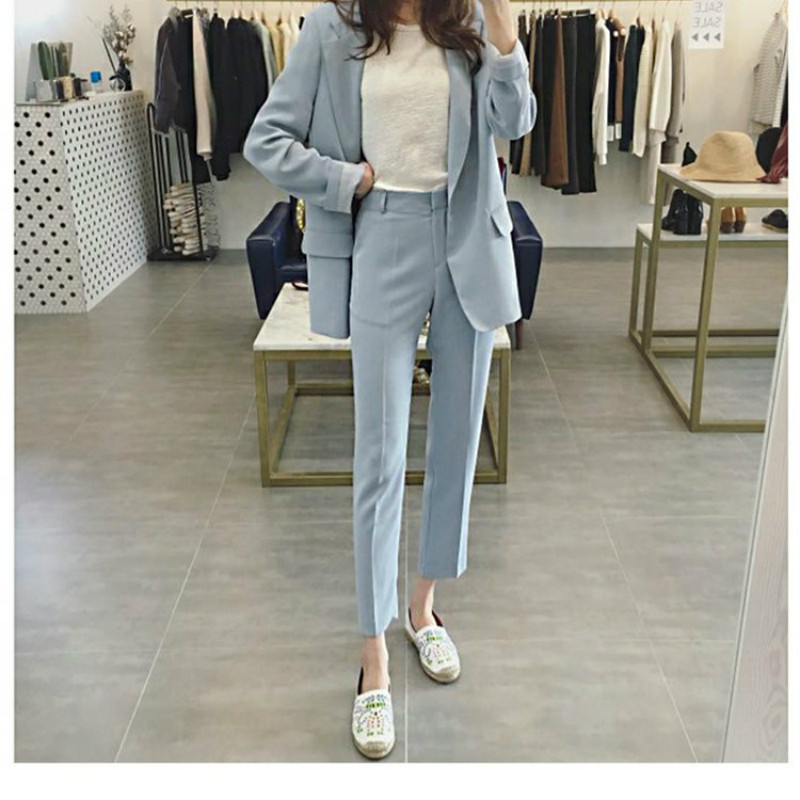 2019 Autumn New Women's Blazer Fashion Professional Black Suit Slim Women's Jacket Fashion Trousers Two-piece