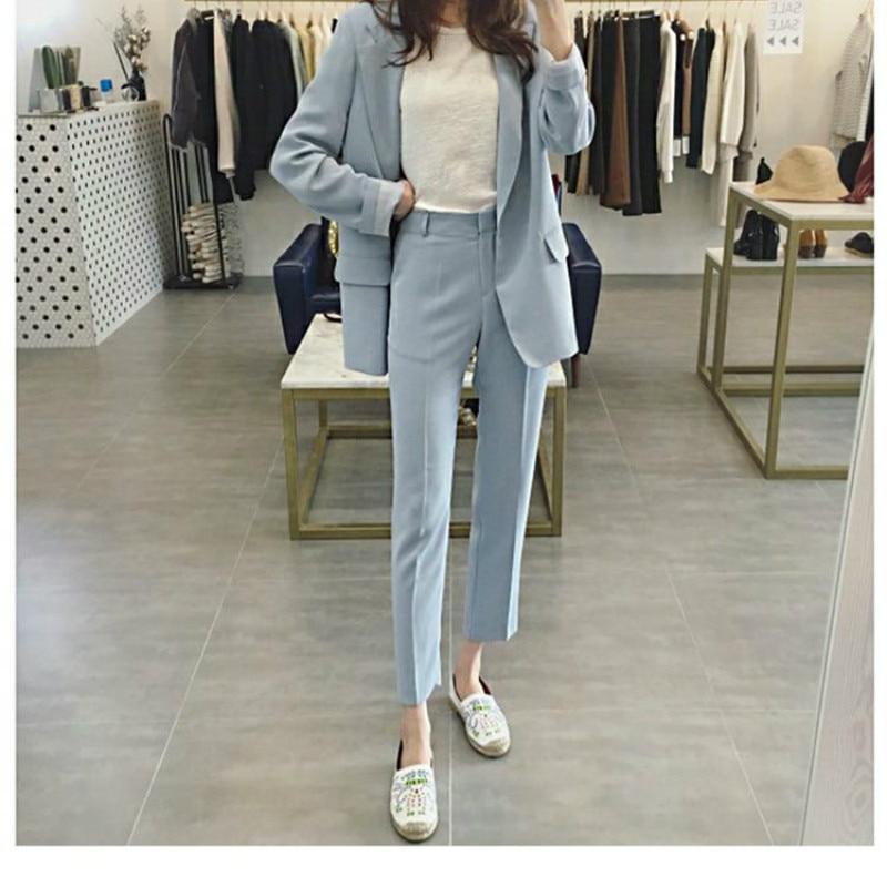 2019 Autumn New Women's Blazer Fashion Professional Black Suit Slim Women's Jacket Fashion Trousers Two-piece