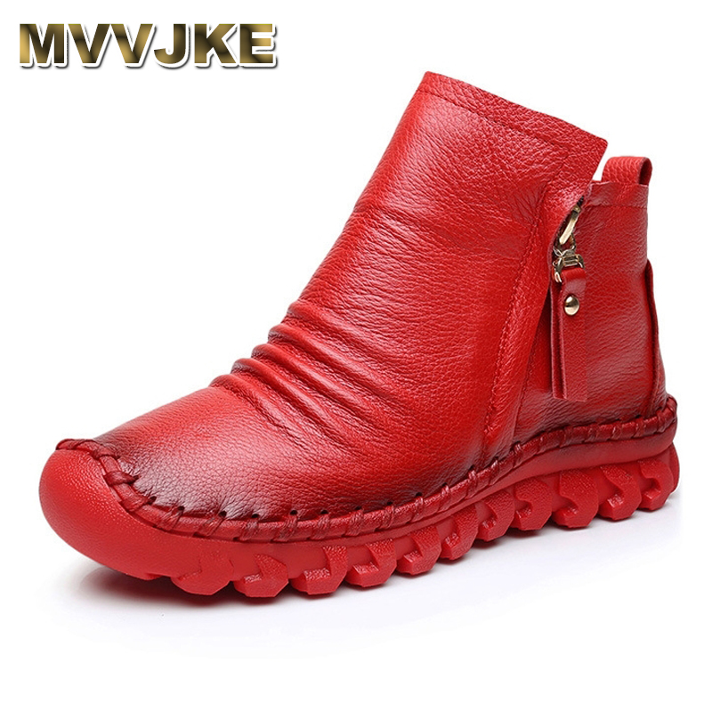 MVVJKE 2018 Women Fashion Vintage Handmade Genuine Leather Shoes Female Autumn winter Platform Ankle Boots Woman Casual Boots women ankle boots handmade genuine leather woman boots autumn winter round toe soft comfotable retro boot shoes female footwear