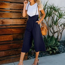 Women Loose Solid Pockets Jumpsuit Strap Dungaree Harem Trousers Overalls Casual Wide Leg Playsuit