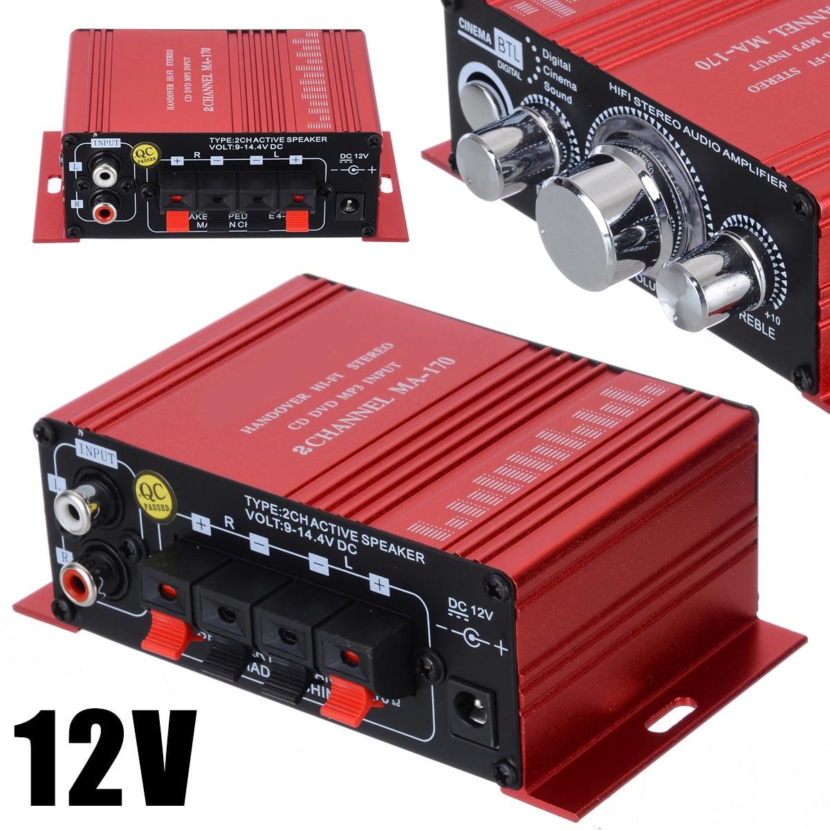 MA-170 Red Stereo HiFi Amplifier Aluminium 2 Channel Amplifiers For Computer Desktop Speaker 20Hz To 20KHz