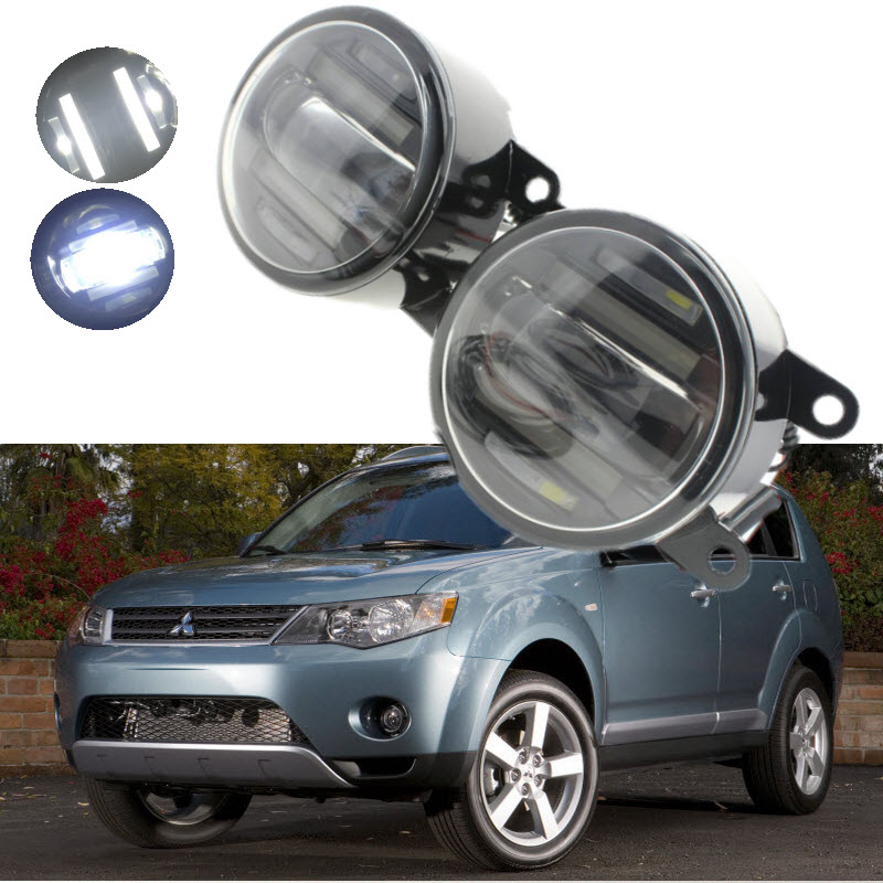 For Mitsubishi Outlander XL 2006-2012 2in1 18W 1800LM LED Fog Lights White Cut-Line Lens DRL Daytime Running Lights Car-Styling монитор 21 5 aoc i2269vwm 01 glossy black i2269vwm 01