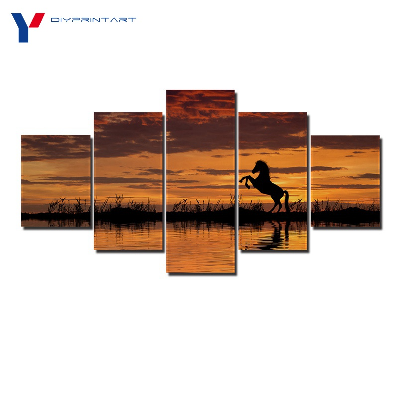 Horse Reflection Sunset 5 Panel Wall Art Decor Painting Landscape Picture for Living Room A0245