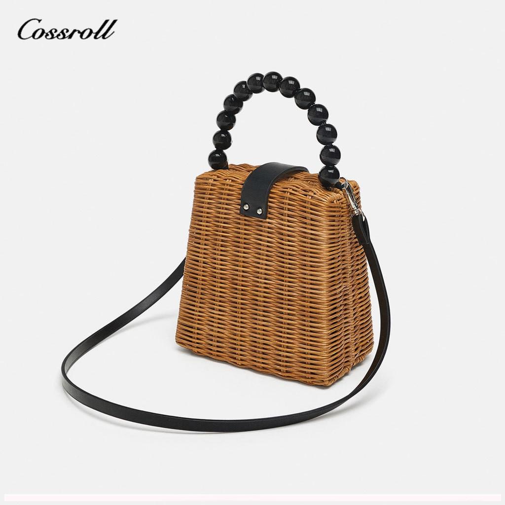 Sac de rotin de paille trapézoïdale de voyage d'été perle acrylique petit fourre-tout sacs à bandoulière pour femmes sac à main dames sac à bandoulière sac à main