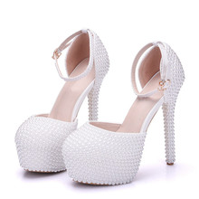 Women Platform High Heels Bridal Wedding Shoes White Pearl Bride Bridesmaids Prom Pumps Ankle Strap Sandals Shoes  XY-A0115 woman wedge shoes white ivory high heel peep toe ankle strap lace bridesmaids bride wedding shoes evening prom pumps wp1415
