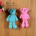 Bebê recém-nascido Fotografia Prop Crochet Da Mão Malha Little Bear Artesanal Fio de Algodão Marrom Branco Bebe Urso Animal Da Foto Adereços