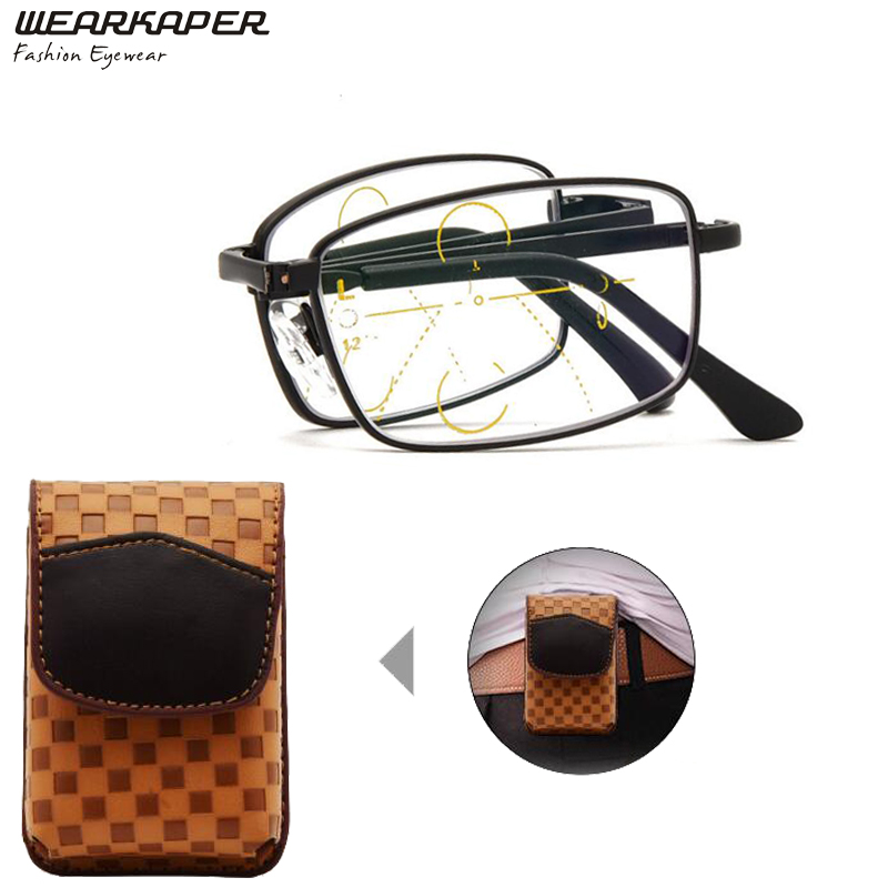 WEARKAPER NEW Pocket Folding Eyewear Smart Metal Frame Progressive Multifocal Reading Glasses Men Women Presbyopia Hyperopia