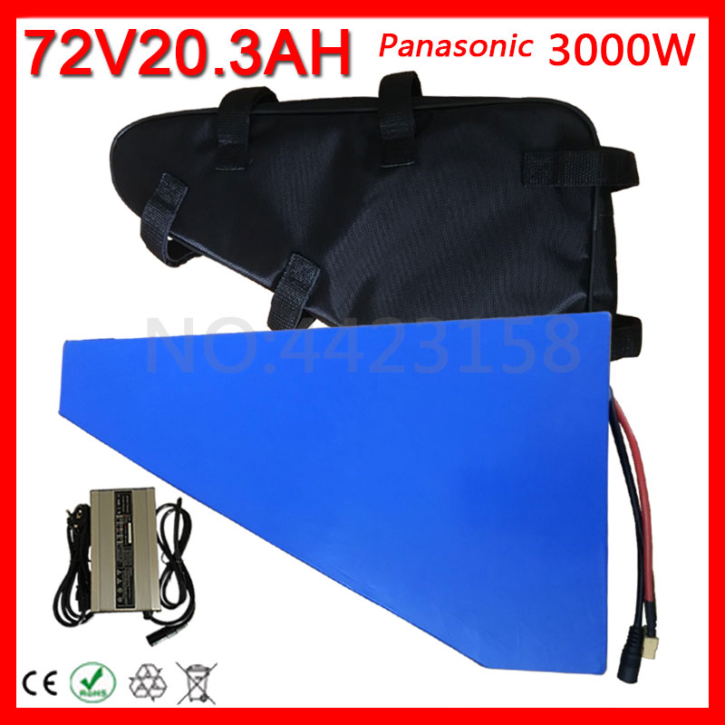 72V Battery 72V 3000W Use Panasonic Cell Electric Bike Battery 72V 20AH Triangle lithium Battery With 60A BMS +84V Charger+Bag