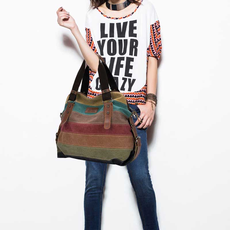 Design Women Canvas Striped Crossbody Bags Vintage Contrast Color Canvas Tote Handbags BS88