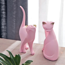 2PCS Nordic Pink Kitten Resin Cat Ornament Creative Cute Animal Crafts Home Furnishing Decoration Bar Desktop Figurines Decor(China)
