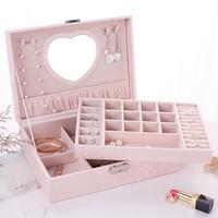 Fashion Cute Girl's Jewelry Box Hand Jewelry Wooden Storage Box with Lock Birthday Wedding Gift Light Pink
