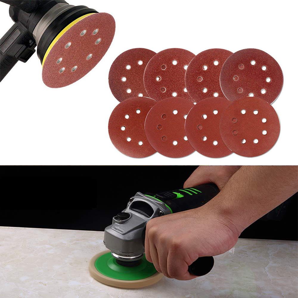 5/30pcs 5 Inch 125 Mm Round Sandpaper Eight Hole Disk Sand Pits Sheets Grit 60-150 Hook And Loop Sanding Grinder Disc Polish