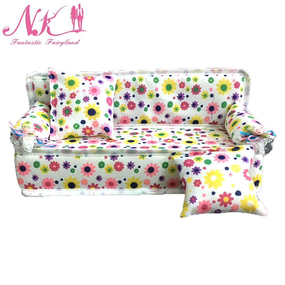 NK One Set Doll Accessories Cute Dollhouse Furniture Flower Cloth Sofa Couch With 2 Cushions For Barbie Doll House Toys DZ