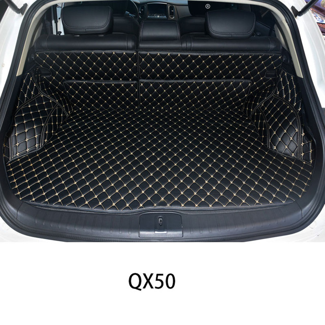 Custom Car Trunk Mat for Car Trunk Mats For Infiniti QX60 QX70 Q50L Q70L QX50 black red Waterproof Boot Carpets highlander