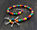 New! Womens Unisex ColorFul Beads Keychain Biker Wallet Chain YL-36
