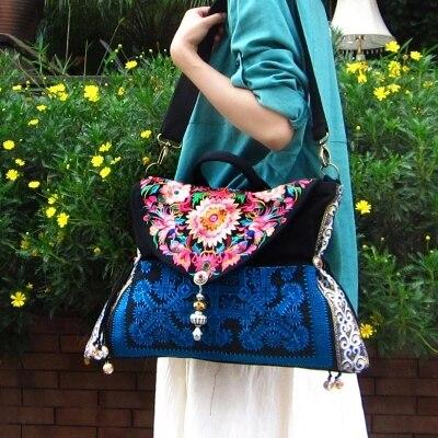 Vruće vezene ženske torbice crno platno Etničke vrećice za - Torbe - Foto 3