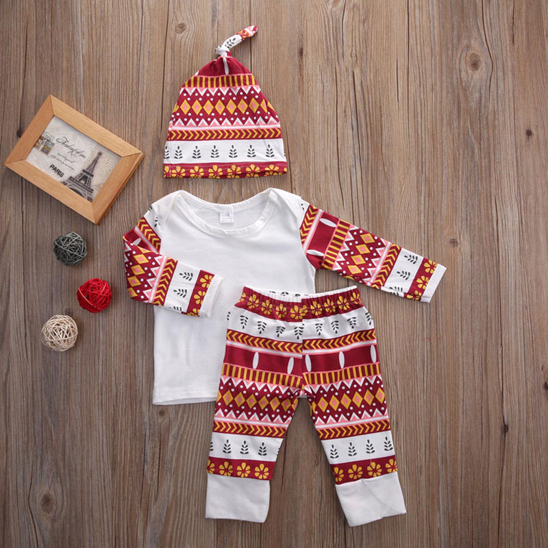Newborn Toddler Kids Baby Boys Girls Outfits Clothes Set T-shirt Tops + Pants Hat Cute Cotton 3PCS Set Baby Clothing