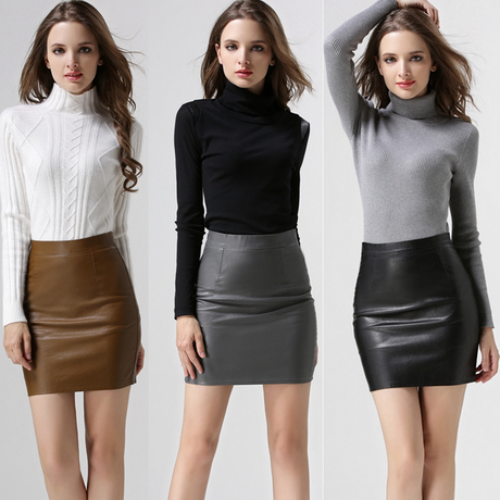 Online Shop Gray Brown Black Leather Pencil Skirt Womens Sexy Mini ...