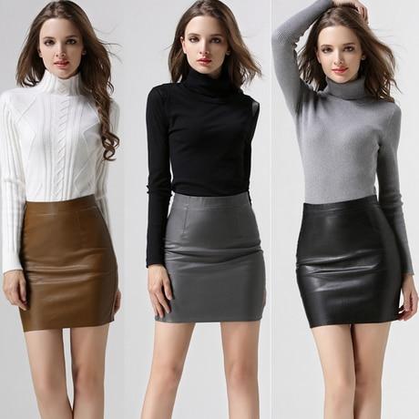 Gray Brown Black Leather Pencil Skirt Womens Sexy Mini Skirt Slim ...