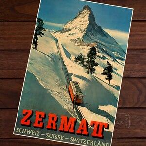Zermatt автобус катание на лыжах Винтаж Ретро Крафт холст картины постер карты домашний бар постеры Декор стены подарок деревянный сплав рамка