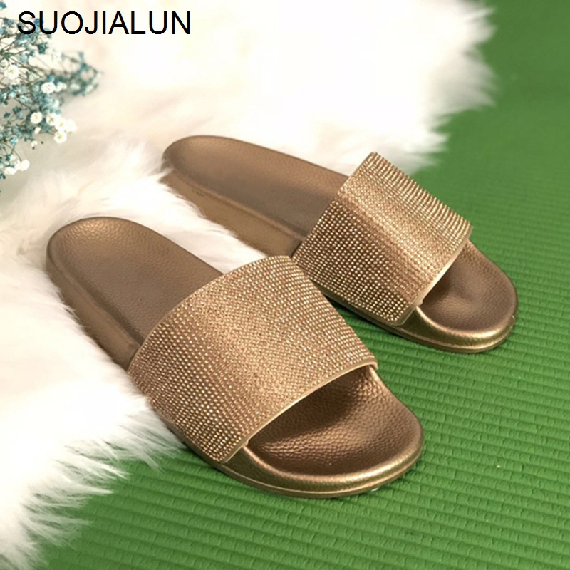 Big Size Crystal Diamond Slippers Summer Women Slippers Bling Beach Slides Flip Flops Ladies Sandals Casual Shoes Slip On Slides