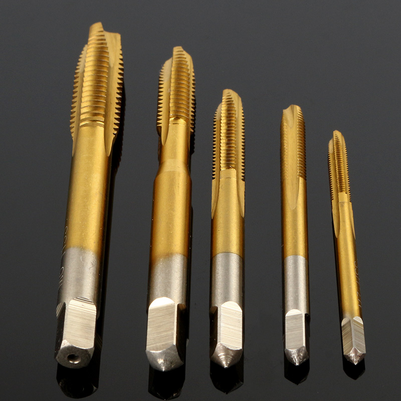 5Pcs Titanium Coated Straight Groove Tap HSS 6542 Straight Flute Taps Round Shank Square End Spiral Point Tap Machine Screw Tap freeshipping mini taps dies metric set m1 m2 5 screw thread plugs taps hss screw taps with tap wrench hand tools 30pcs