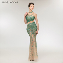 Angel Novias Long Mermaid Emerald Green Evening Dress 2018