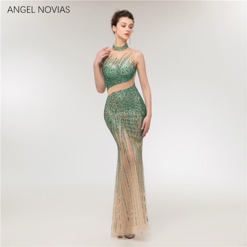 Long Mermaid Emerald Green Crystals Evening Dress 2018 Formal Prom Party Gowns vestidos longos de festa noite