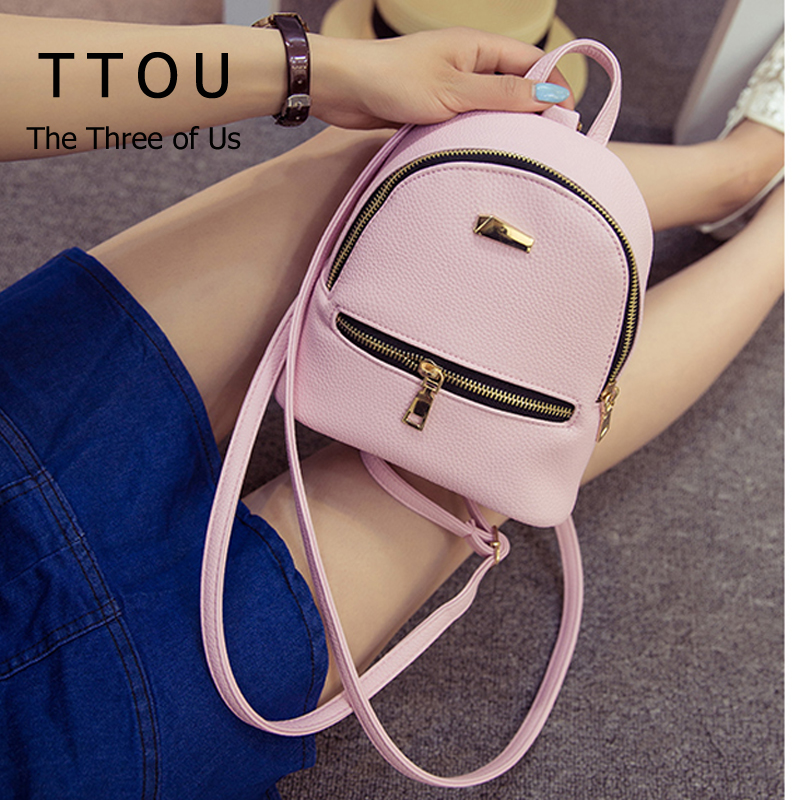 TTOU Women Mini Backpack Cute Backpack for Children Teenagers School Bags  Mochila Preppy Style Pu Leather Backpack for Girls 1a8580db4e8b5