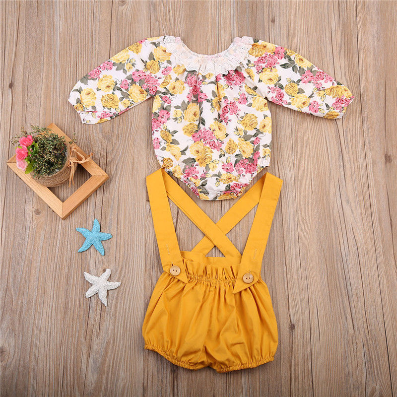 Summer Baby Girl Floral Outfits Clothes Newborn Kids Girls Princess Lace Rompers+Shorts Sunsuit Clothes Set Long Sleeve Clothing 1