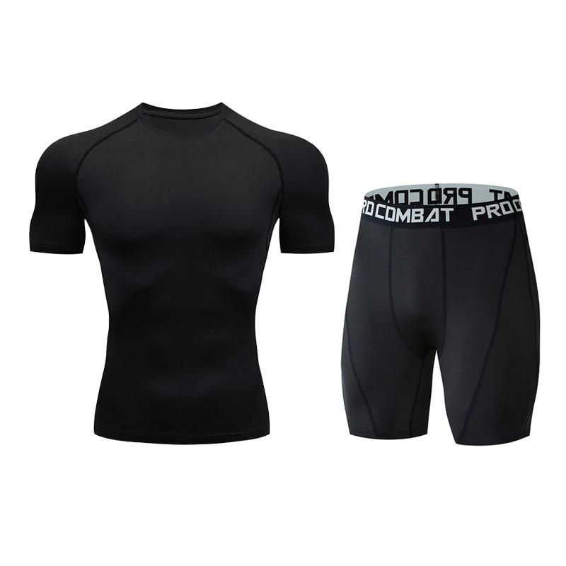 Для мужчин костюм модные компрессионная рубашка для фитнеса Однотонная футболка с короткими рукавами+ Шорты Для мужчин костюм мышцв, бодибилдинг одежда - Цвет: tz2
