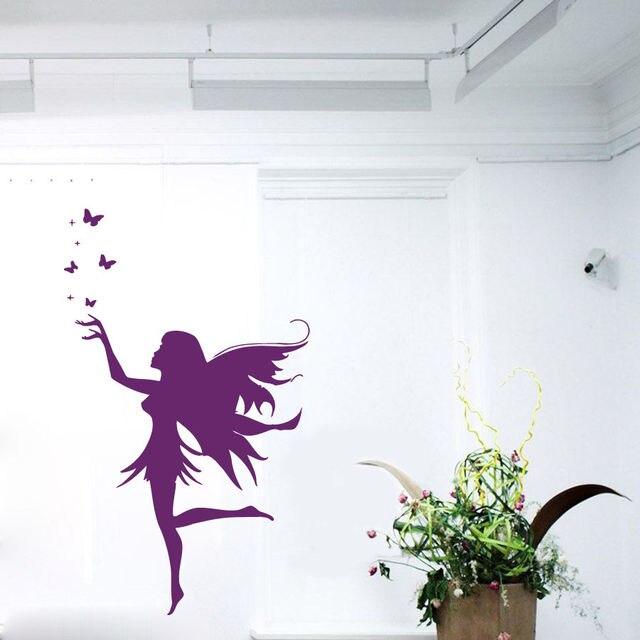 Tinkerbell Wall Decals Girl Butterflies Vinyl Sticker Beauty Salon Decor