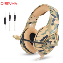 ONIKUMA K1 Camouflage Gaming Headset Dee Bass Game Ականջակալներ PS4 Ականջակալներ Mic PC- ով PC Moblie Phone New Xbox Tablet